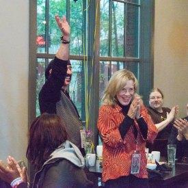 Brenda Fielder & Jimbeau Hinson celebrating BEAUTIFUL JIM's Programmers' Choice Award @ the Crossroads Film Festival, 2014