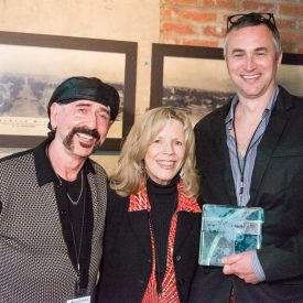 Jimbeau Hinson, Brenda Fielder, & Jimbeau Hinson receiving the Programmers' Choice Award for BEAUTIFUL JIM @ the Crossroads Film Festival, 2014